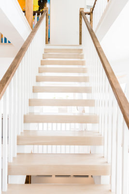 Open backed staircase in Ocean County custom home