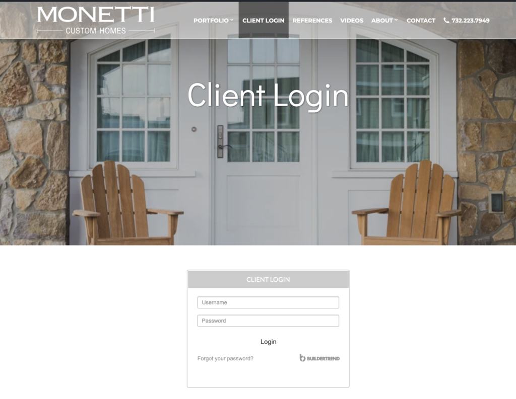 Monetti Custom Homes NJ Client Login