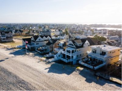 Arial shot of Monmouth County coastline with custom homes