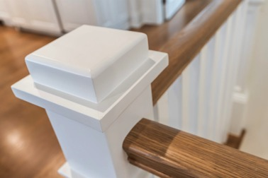 Staircase detail used by NJ custom home builder