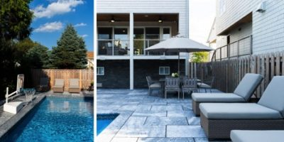 Backyard oasis built to accomodate large parties for NJ home