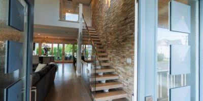 French doors placed on opposite sides of a room in NJ custom home