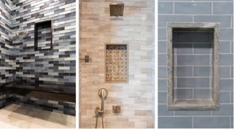 Neutral tile work with built-in nooks for cutom home builder in NJ