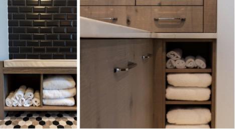 Space saving nooks in bathroom of custom home in NJ