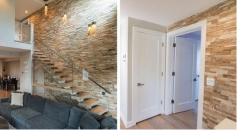 Stone wall in NJ custom home