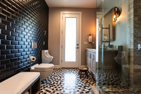 Custo home builder Jersey shore, Custom designed bathroom with black tiled wall