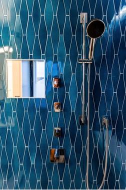 Custom home builder NJ, Beautiful custom bathroom with blue tiles